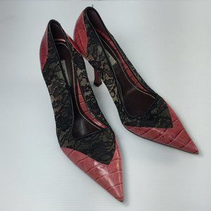 Zara Pink Gator Leather Floral Lace Pointed Pumps